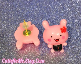 Kawaii Bunny Baby Pink Stud Earrings
