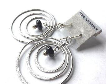 Beaded Silver Hoop Earrings - Open Hoop Earrings - Glass Earrings - Black Beaded Earrings - Open Circle Earrings - Triple Hoop Earrings