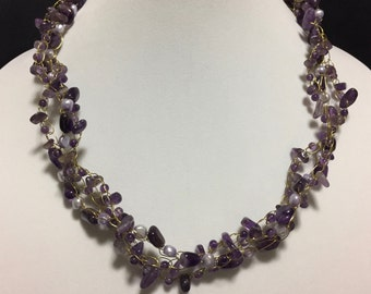 Hand Made Crochet Necklace with Amethyst and Fresh Water Pearls.