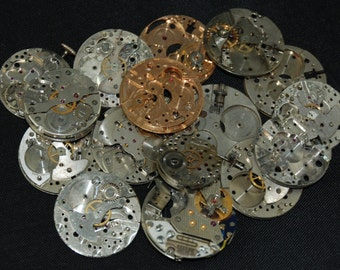Destash Steampunk Watch Parts Movements Cogs Gears  Assemblage FW 83