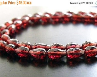 Love You 51% off Sale Mozambique Garnet Briolette Faceted 3D TearDrop Center Drilled 7 to 8mm 23 beads 1/2 Strand