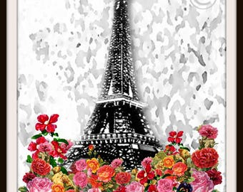 Eiffel Tower Original Art-One of a kind -Floral--8.5x11