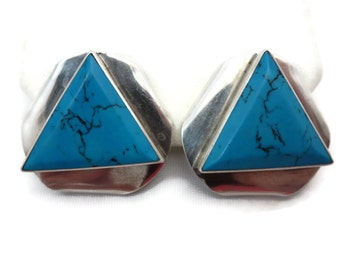 Mexico Sterling Earrings - Faux Turquoise, Silver Clips, Calderos, Bold Chunky Large