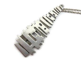 Brutalist Jewelry - Modernist Pewter Pendant, Ceard Scotland