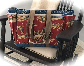 Western Cowboy Travel, Garden, Craft, Diaper or Knitting Tote Bag