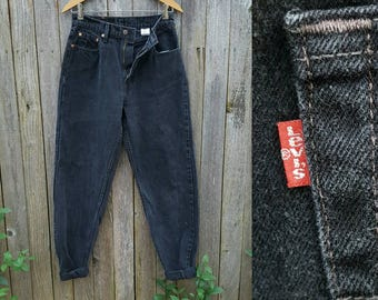 """Vintage Black Jeans  //  Vtg 90s LEVI'S 560 Made in the USA Distressed Faded Black Loose Fit Straight Leg Jeans  // 28.5"""" waist"""