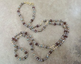 """Handknotted Long Bead Necklace - Crystal Layering Necklace """"Polanaise in A Flat Major"""" - Item 1586"""