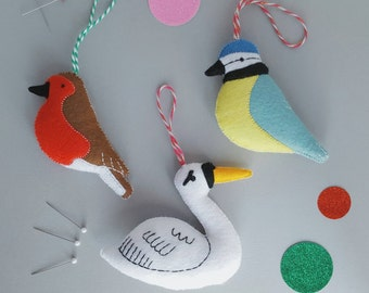 hanging bird decorations - set of 3 - swan blue tit and robin ornaments - handmade felt hanging birds