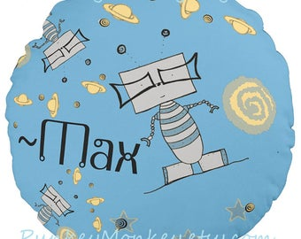 Robot robots personalized name outer space pillow Custom 14 inch round toss pillows kids teens adults aliens room decor geekery robo tech