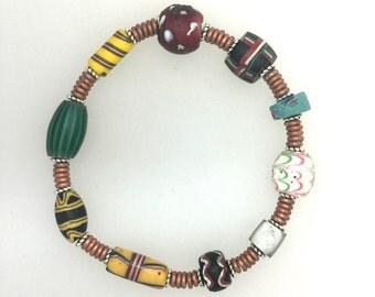 African Trade Bead Bracelet #8.   71/2 ins