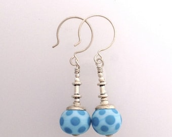 Spring Sale Time Blue Dot Lamp Work Earrings with Sterling Silver by Kate Drew-Wilkinson