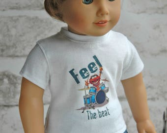 American, made, girl, boy, graphic, concert, band, tee, shirt, fits, 18 inch doll, top, doll clothes