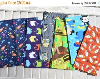 "SALE 10% OFF Set of 6 8"" Children's Cloth Napkins Boys Mixed Print Lunchbox/Luncheon Napkins Set 9"