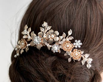 Rose Gold Wedding Comb Rose Gold Comb Bridal Hair Comb Rose Gold Headpiece Wedding Headpiece Rhinestone Hair Comb Floral Headpiece HENDRICKS