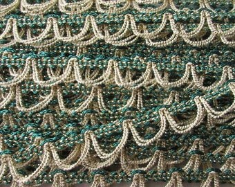 """2 Yards Vintage Metallic Trim Looped Ribbon 9/16th"""" Wide Green Ivory Gold Very Fancy Old Store Stock"""