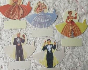 Sweden 5 Vintage Paper Place Cards Fancy Ladies & Gents Art Deco Old Store Stock