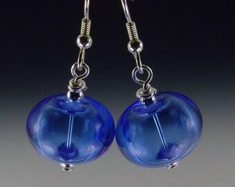 medium blue Hollow Lampwork Bead Earrings