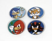 "Sonic Adventure 2 Buttons - Sonic, Tails, Knuckles, Shadow - 1.25"" Pinback Button Set"