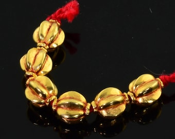 18k Solid Yellow Gold 6MMx7MM Pumpkin Spacer Findings Beads 1.6 INCH Strand (6)