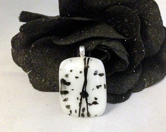 Pale Pink-Black Splatter Dichroic Glass Pendant-Chain Not Included