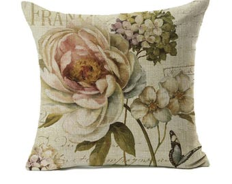 Vintage Floral Peony Hydrangea Botanical Butterfly Design Throw Pillow Cover 18 x 18 Cotton Linen