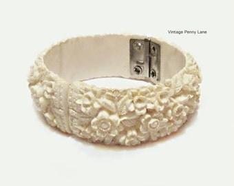Vintage Clamper Bracelet, Carved Celluloid Flower Bangle