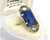 Antique Art Deco Sterling Lapis Marcasite Ring