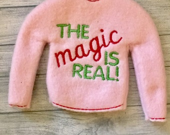 elf or fashion doll pink the magic is real  sweater