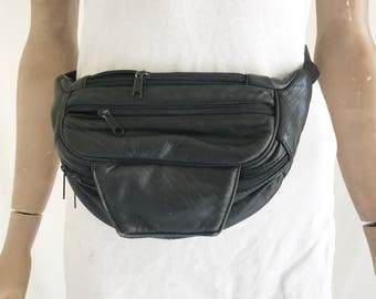 Vintage 90's Black Leather Fanny Pack