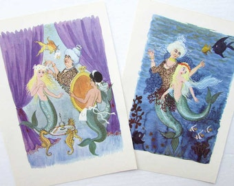 Vintage 1960  Little Mermaid by Hans Christian Andersen Child's Story Book Illustrations, Prints for Framing, 2 Vintage Prints