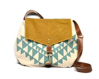 satchel • crossbody purse - waxed canvas bag • geometric triangle print - aqua - hand printed canvas - brown waxed canvas • every day bag