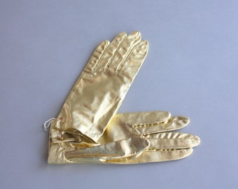 1950s Gloves / Vintage 50s Metallic Gold Short Gloves / 1960s Golden Gloves Deadstock
