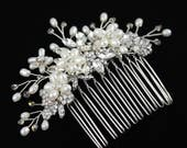 Silver Freshwater pearl and rhinestone Large Bridal Hair Comb with Blush Colored Crystals