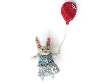Rabbit jewelry, rabbit holding a balloon brooch - cute animal jewelry, animal pin, bunny brooch, rabbit brooch, sweet jewelry, party animal
