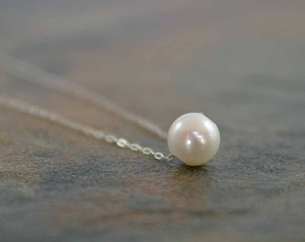 June Birthstone Necklace, Pearl Necklace, Freshwater Pearl Necklace, June Jewelry, Birthstone Jewelry, Birthday Necklace