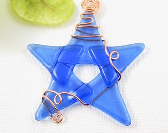 Blue Glass Star Suncatcher Ornament - Fused Glass Star Christmas Ornament - Wire Wrapped Star - Light Blue Star Christmas Decoration