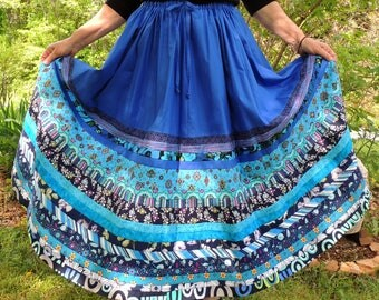 Striped Bohemian Country Patchwork Skirt