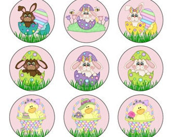 Easter Bunnies and Chicks 1 inch Circles