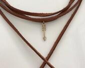 Rust Suede Choker, Gold Arrow Necklace, Tassel Suede Choker, Jewelry, Long, Wrapped Choker, Suede Necklace, Women's Necklace