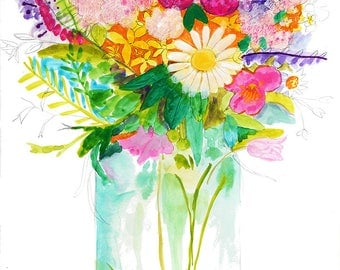 Flowers in a Vase, Watercolor, Floral Print, Flower Wall Art, Home Decor Artwork