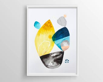 Blue and yellow shapes original acrylic abstract painting, geometric abstract wall art, original painting