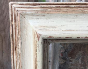 Farmhouse Shabby Chippy Upcycled 8x10 Wood Picture Frame Distressed Antiqued Ivory Color FREE SHIPPING!
