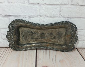 Vintage Long Ornate Silver on Copper Tray