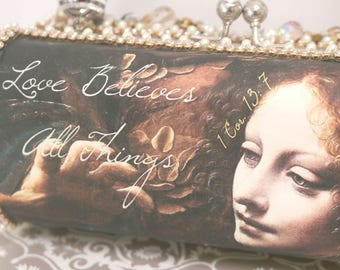 Love Believes All Things . Beaded Evening Bag . 1 Cor. 13 . Scripture Bag . Bridal Clutch Bag . DaVinci Art Bag . Evening Clutch Bag .