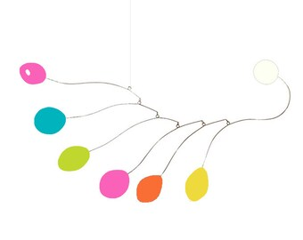 """Bright Colors Art Mobile by Atomic Mobiles - 26""""x13"""" Medium - Happy Kinetic Sculpture Midcentury Inspired Style"""