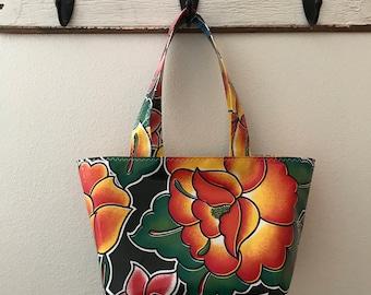 Beth's Oilcloth Tejuana Basket Market Tote Bag with over the shoulder Straps