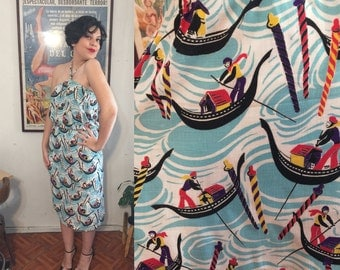1940s Italian Gondela Geometric Print Skirt halter Set - Cotton Kitsch Novelty aqua blue people