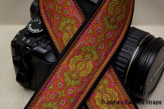 "Custom Padded Camera Strap 2"" Wide Leaf Flower Orange Pink DSLR SLR P&S 5188 5514"