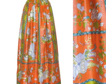 Vintage Maxi Skirt / Ankle Length Skirt / Polished Cotton Asian Motif Skirt / Carol and Mary Honolulu / Cotton / 26 Waist