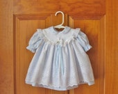 ON SALE Baby girl blue dress, white eyelet pinafore & pantaloons, ready to ship, size 3-6 months,